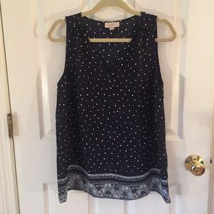LOFT navy & white polka dot sleeveless top - med